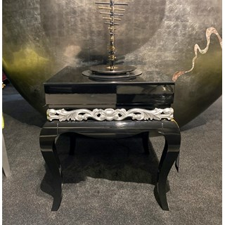 Ex-Display Black Gloss & Silver Leaf Side Table