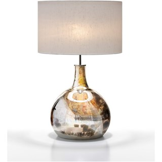 Infinity Glass Nickel Table Lamp With Silk Shade
