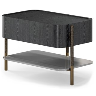 Italian Black Ash Luxury Bedside Table | Touched Interiors