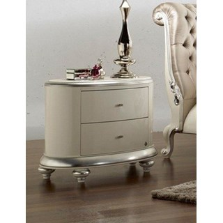 Opulent Swarovski white gloss and silver leaf bedside table