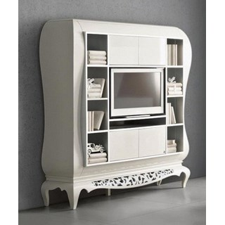 Large High gloss white and silver carving TV media unit