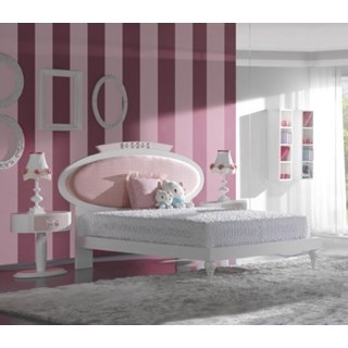 Luxury glossy white and pink kids bed