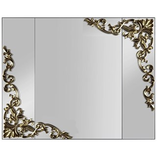 Lacquered Patina Leafed Carved Rectangle Mirror