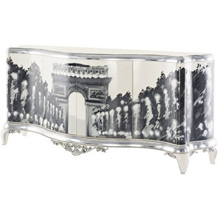 Curved high gloss white and silver leaf sideboard with champs elysee graffiti