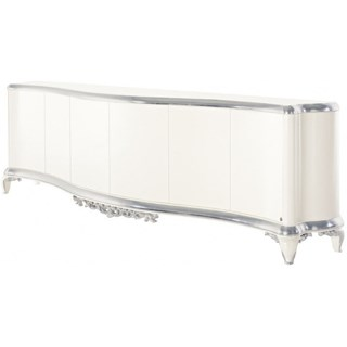 Curved high gloss white and silver leaf carving 6 door sideboard