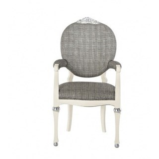 Glossy white and silver leaf dining armchair with chequered grey fabric