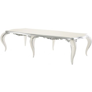 High gloss white and silver leaf carved dining table