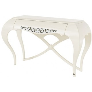 French cross legs glossy white and silver leaf carving console table