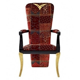 Elegant high back red, black and gold armchair