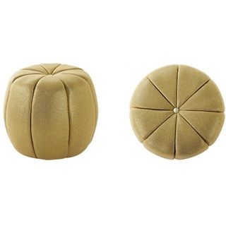 Midas gold pouf / Footstool with Swarovski button