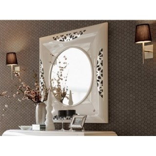 Glossy white carved square frame and round mirror