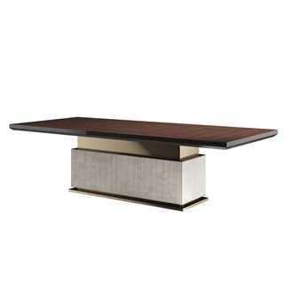 Lucille Dining Table With Base Upholstered Leather | Touched Interiors
