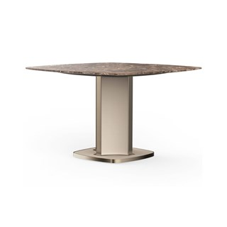 Lusso Mistic Brown Marble & Leather Square Dining Table
