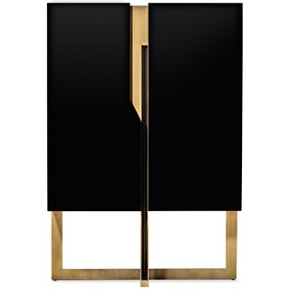 Luxe Black Lacquered Cabinet with Golden Brass Detailing | Touched Interiors