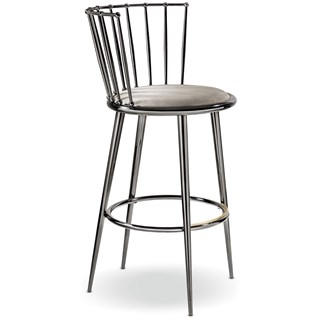 Luxury Curved Black Nickel Bar Chair | Touched Interiors