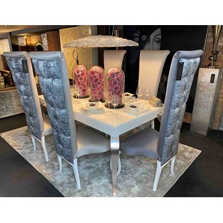 Luxury Ex-Display White Gloss Dining Set with Chairs, Table, Sideboard & Mirror | Touched Interiors