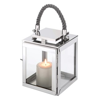Luxury Silver Single Flame Candle Lantern | Touched Interiors