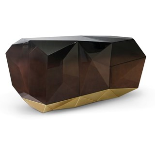 Luxury Faceted High Gloss Chocolate Gold Leaf Sideboard