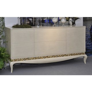 French glossy rustic cream sideboard with gold leaf carving