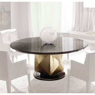 Round Magellan Dining Table With Mahogany Veneer & Metal Base | Touched Interiors