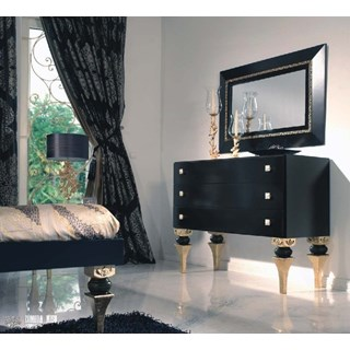 Magnus Bevelled Black And Gold Detailed Rectangle Mirror