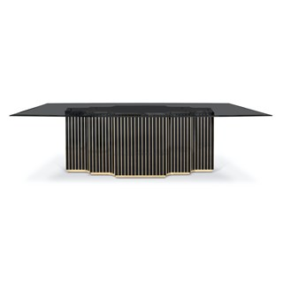 Nevada Polished Brass & Smoked Glass Dining Table | Touched Interiors
