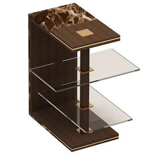 Brushed Brass & Marble Maximo Side Table | Touched Interiors