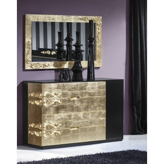 Luxus Carved Wide Black & Gold Leaf Chest of Drawers