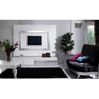 Luxus Carved White And Silver Leaf Rectangle Coffee Table