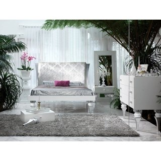 Magnus White and Silver leaf bedroom set