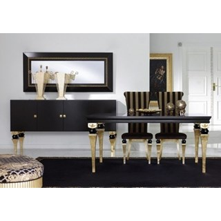 Magnus Black And Gold Leaf Dining Set Collection