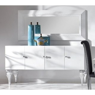 Magnus White And Silver Leaf Sideboard