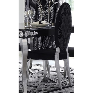Luxus Upholstered Black and Silver Leaf Oval Backed Dining Chair