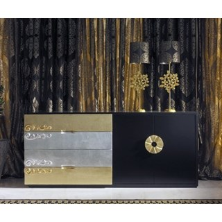 Luxus Carved Black, Gold And Silver Leaf Sideboard
