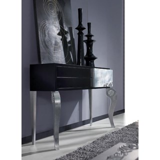 Luxus 3 Drawer Black and Silver Leaf Console Table