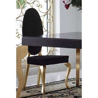 Luxus Black and Gold Leaf Oval Backed Upholstered Dining Chair