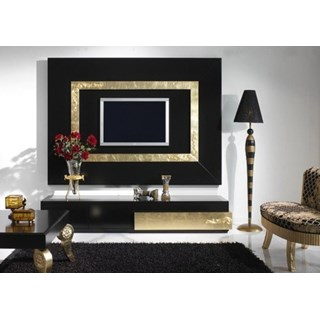 Luxus Black And Gold Leaf Living Room Set Collection