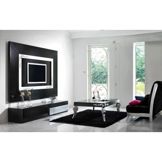 Luxus Carved Black And Silver Leaf Living Room Set Collection