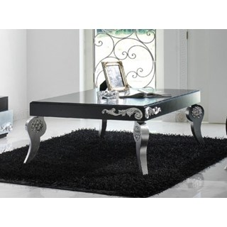 Luxus Black and Silver Leaf Coffee Table