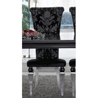 Magnus Upholstered Black Damask Velvet And Silver Leaf Dining Chair
