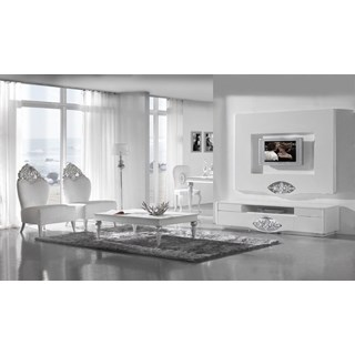 High gloss white TV base with diamond mirror and silver leaf carving