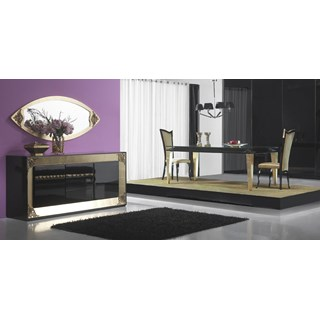 High gloss black, gold leaf and glass dining table with 4 chairs