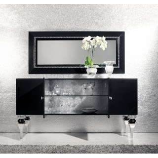 Magnus Black and Silver Leaf Sideboard