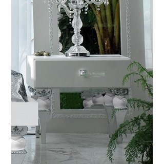 Magnus White And Silver Leaf Bedside Table