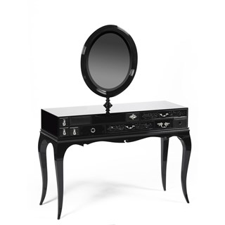 Luxury black dressing table with mirror and drawers