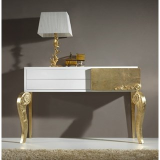 Luxus Carved White And Gold Leaf Console Table