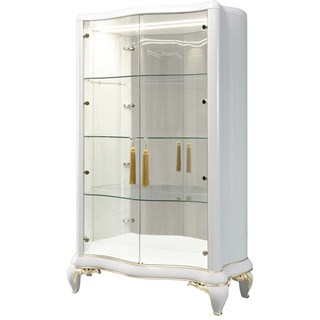 Milan II Lacquered Patina Leaf Display Cabinet