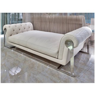 Milan Stainless Steel Upholstered Tufted Italian Sofa Chaise