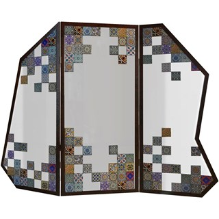 Mirabella Mirrored Floral Folding Screen