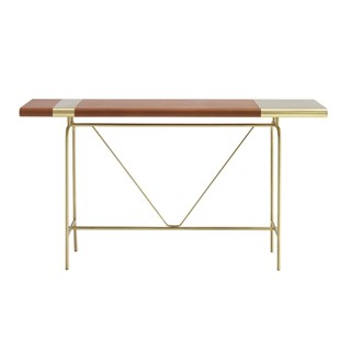 Touched D Brass & Leather Montana Console Table | Touched Interiors